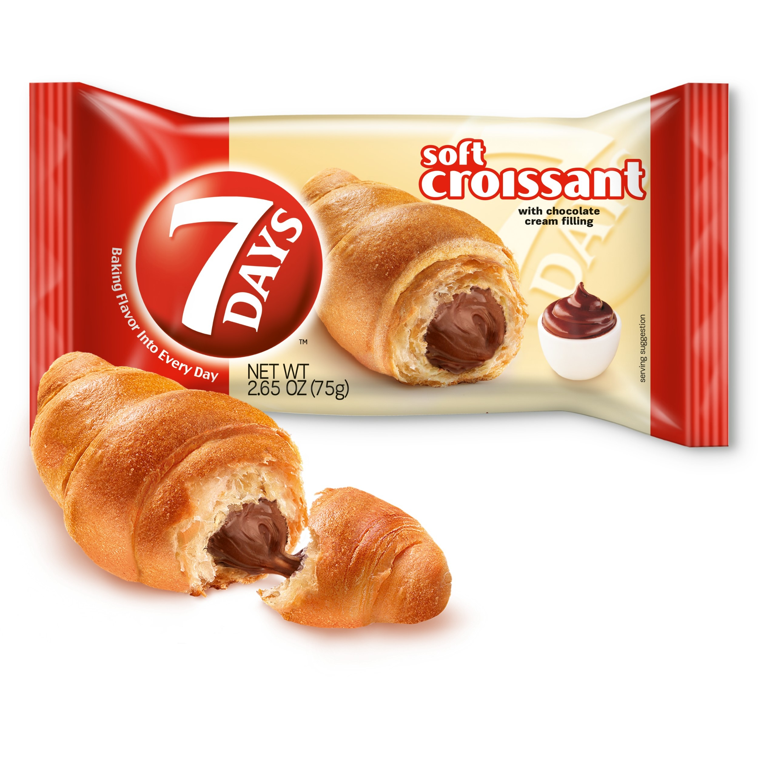 7 Days chocolate filled croissant and packaging