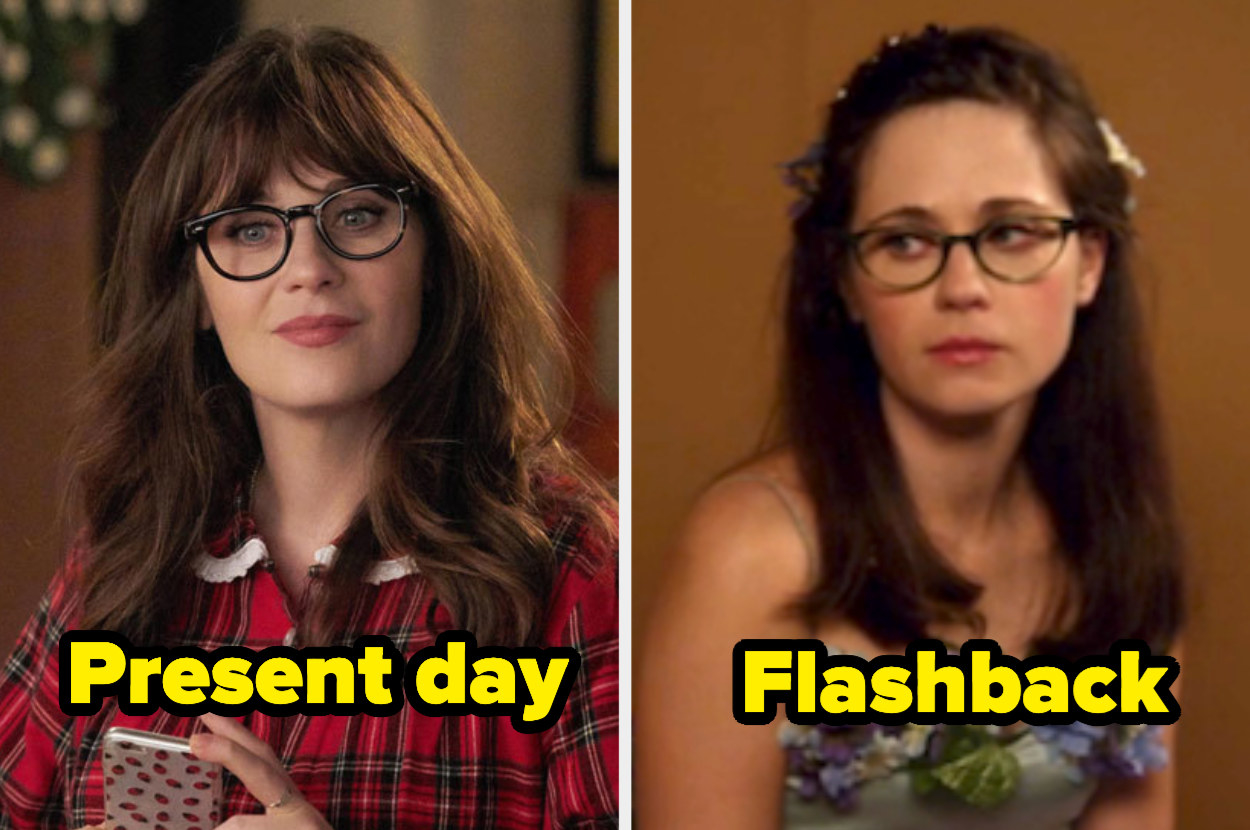Present-day Jess with bangs and curly hair next to flashback Jess with no bangs and straight hair.