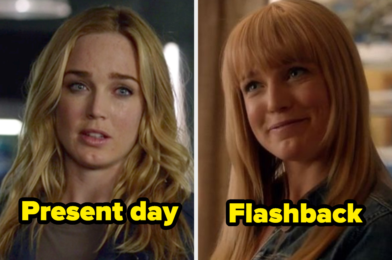 Present-day Sara with wavy curls and a side part next to flashback Sara with yellow-y blunt bangs with layers.