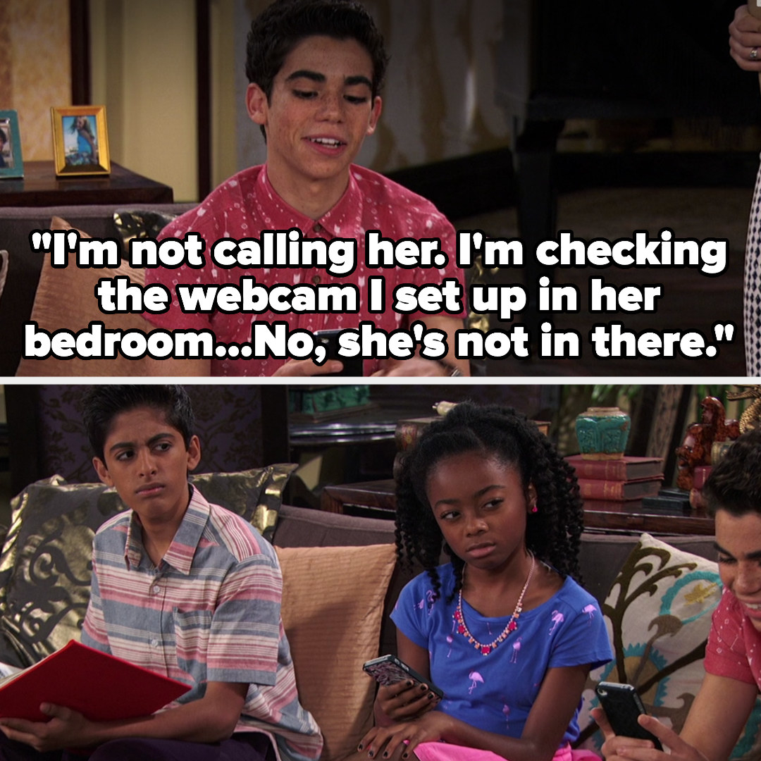 Luke says he's checking the webcam in her bedroom, and his siblings look at him strangely