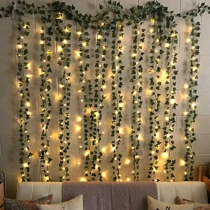 Garlands twisted with string lights.