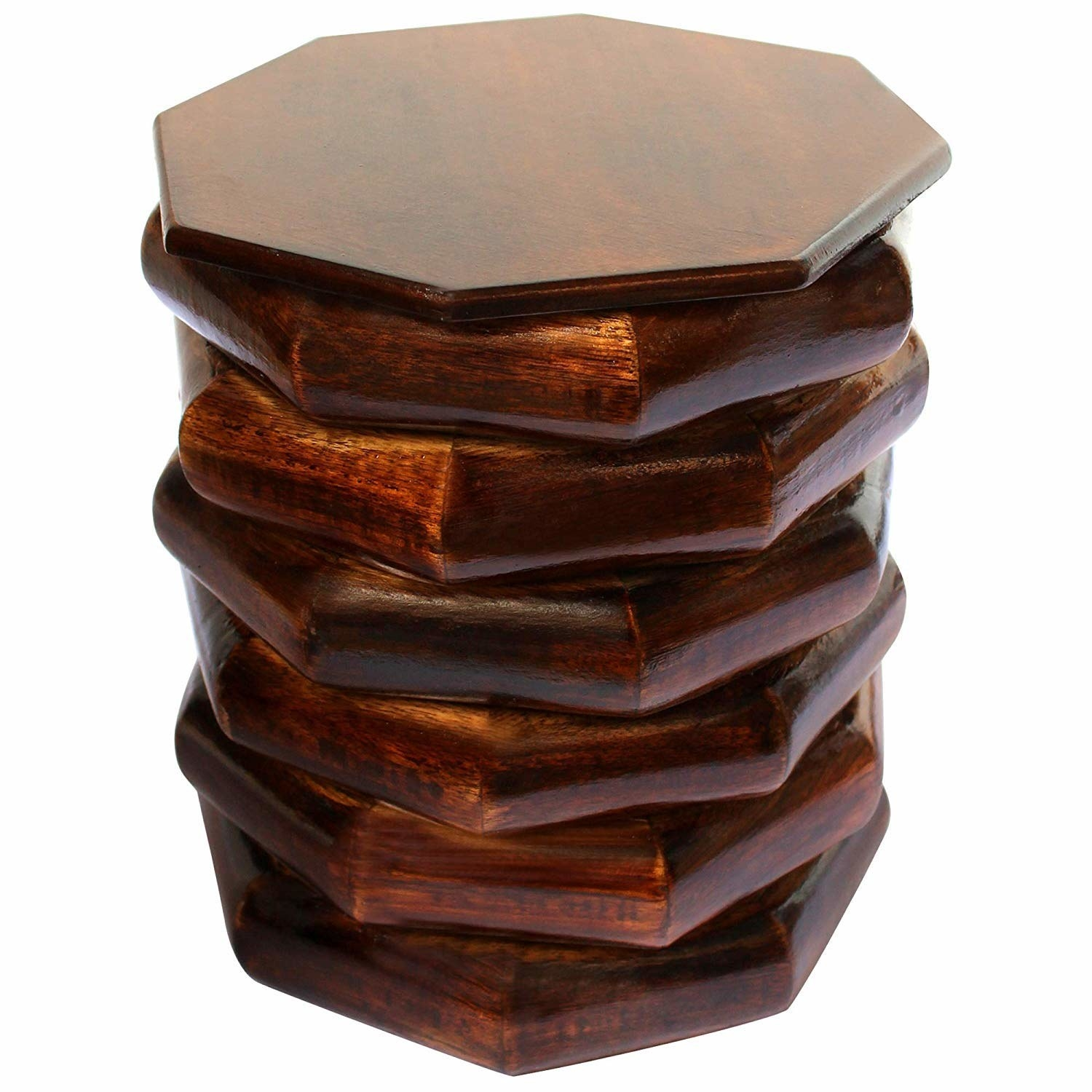 The wood stool is designed to look like unaligned, hexagonal slabs of wood stacked on top of each other.