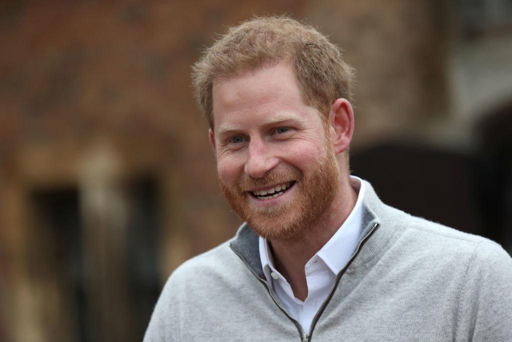 Prince Harry speaks to the media at Windsor Castle