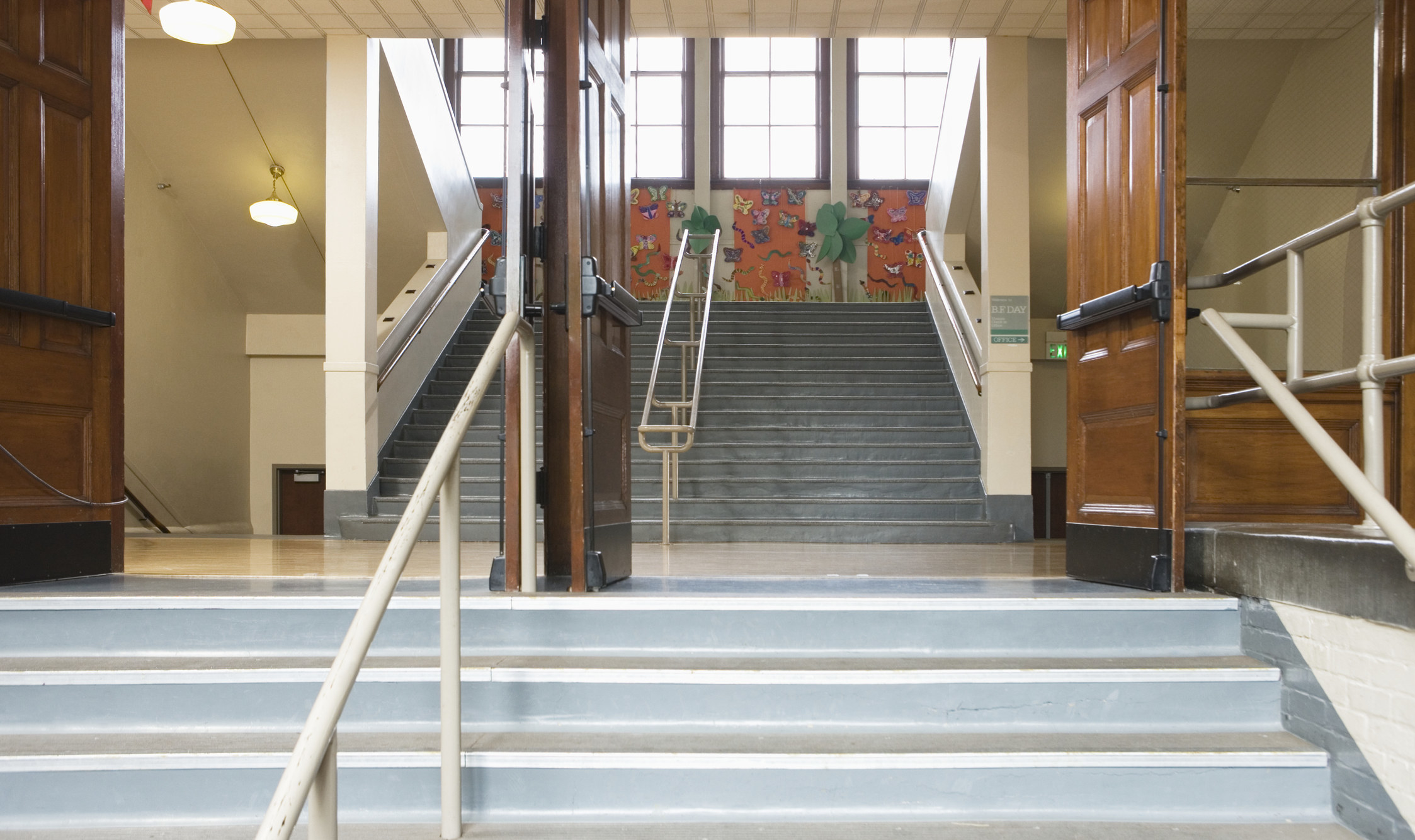 Stock photo of a staircase at a school