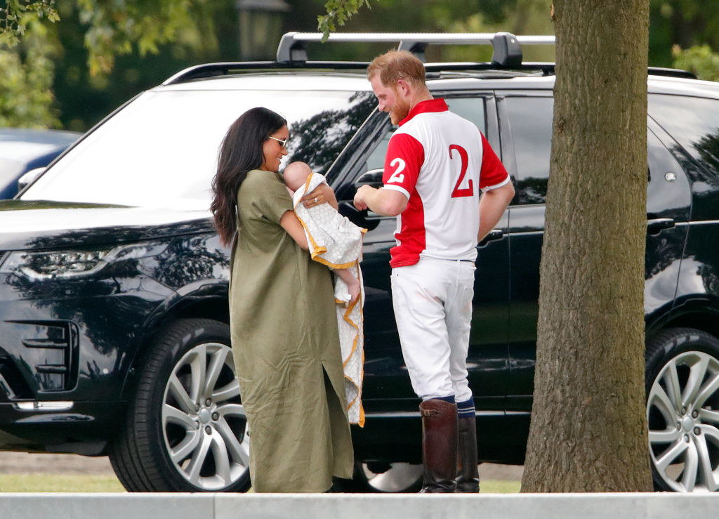 Meghan Markle, baby Archie, and Prince Harry attend the King Power Royal Charity Polo Match