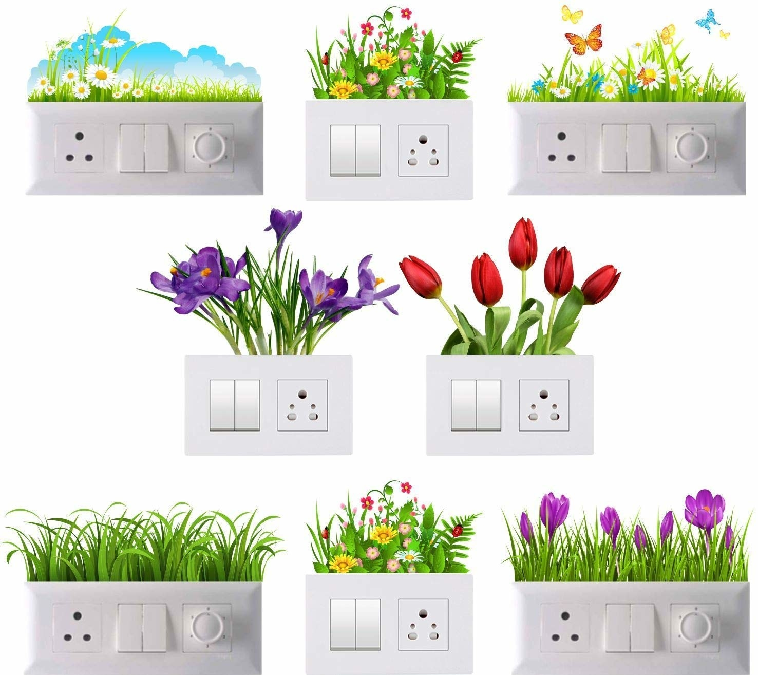 Different types of flower stickers attached above switchboards.