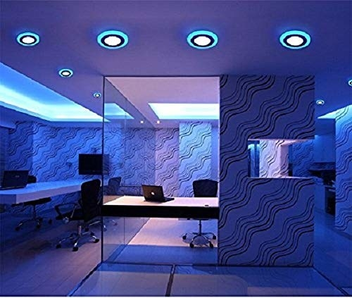 Blue LED lights attached to the ceiling of a room.