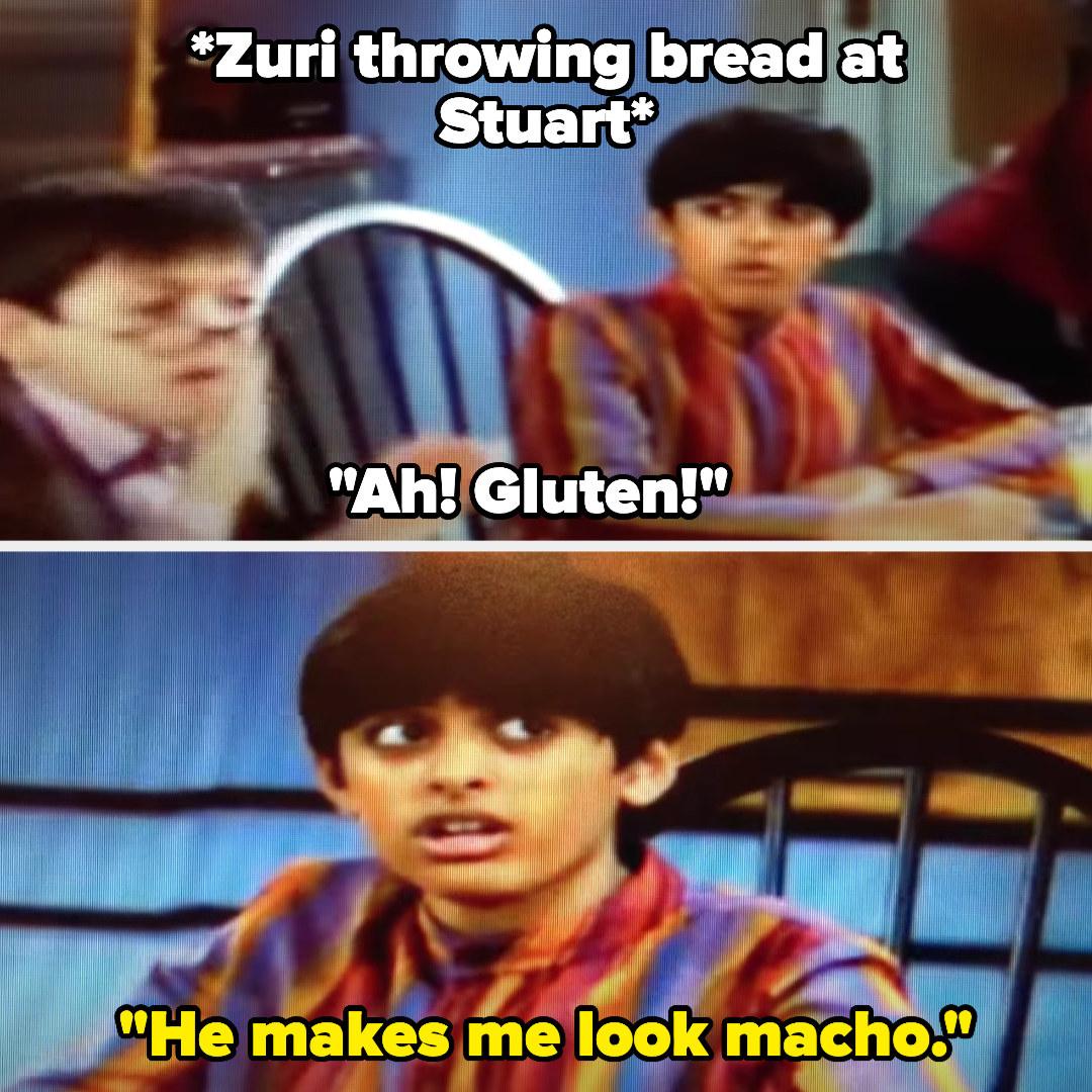 "Zuri throws bread at Stuart, who yells ""Ah! Gluten!"" as Ravi says Stuart makes him look macho"