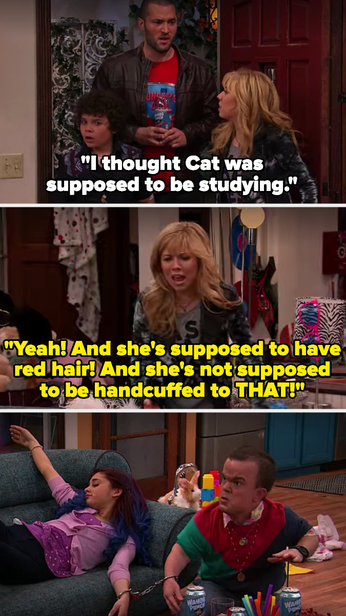 """Sam says Cat is supposed to be studying, have red hair, and not supposed to be handcuffed to """"that"""" (referring to a man with dwarfism who is handcuffed to her)"""