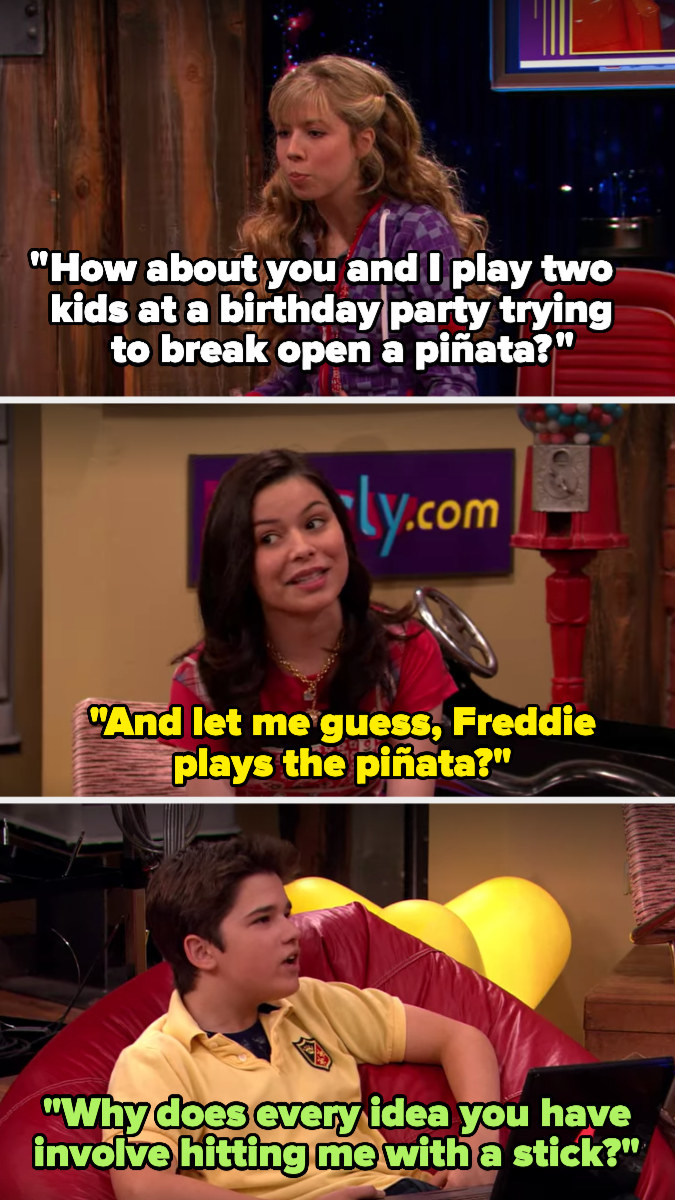 Sam suggests doing a sketch where they hit a pinata, and Carly guesses that Freddie will play the pinata — he asks why all her ideas involve hitting him