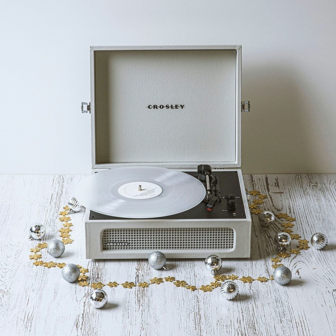 A record player on wooden floor