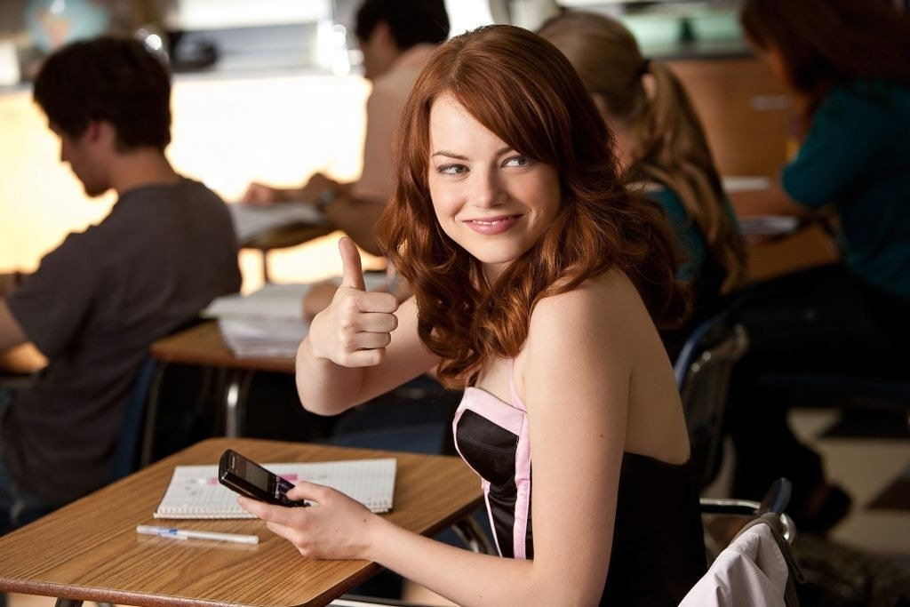 """Emma Stone in """"Easy A,"""" giving a thumbs-up"""