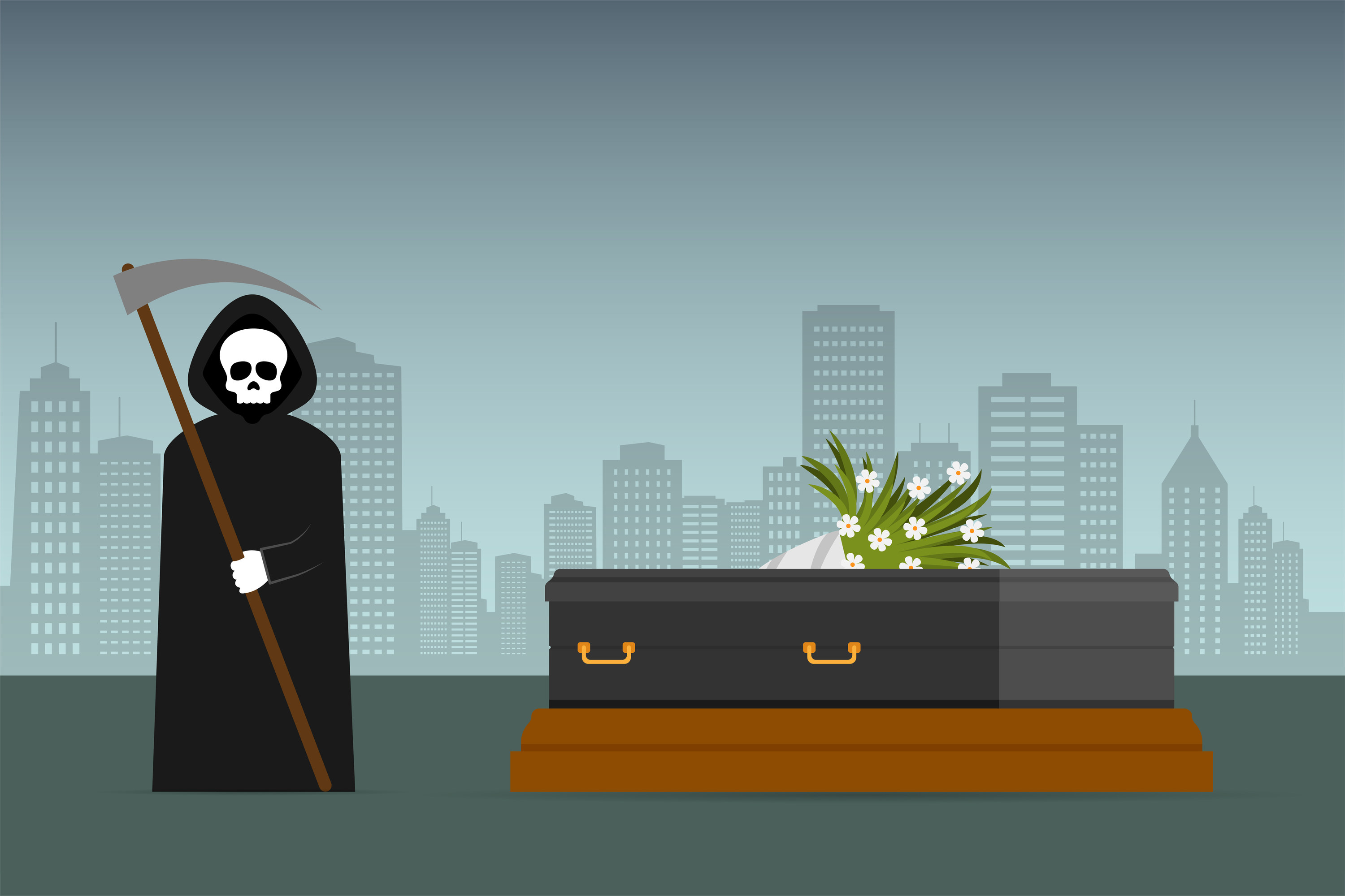 An animation of the grim reaper next to a coffin with a bouquet of flowers on top and a cityscape in the background