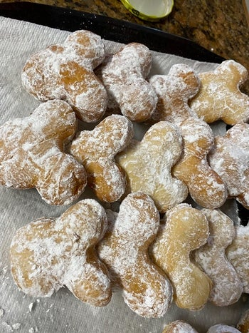 a reviewer's mickey-shaped beignets