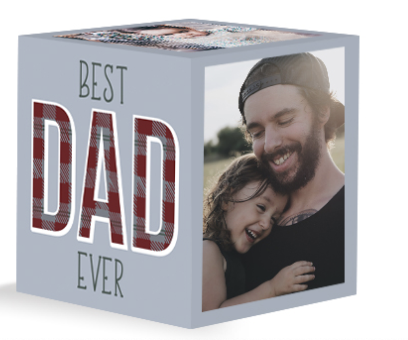 """Desk cube that says """"best dad ever"""" on one side and a photo of a parent with a child on the other"""