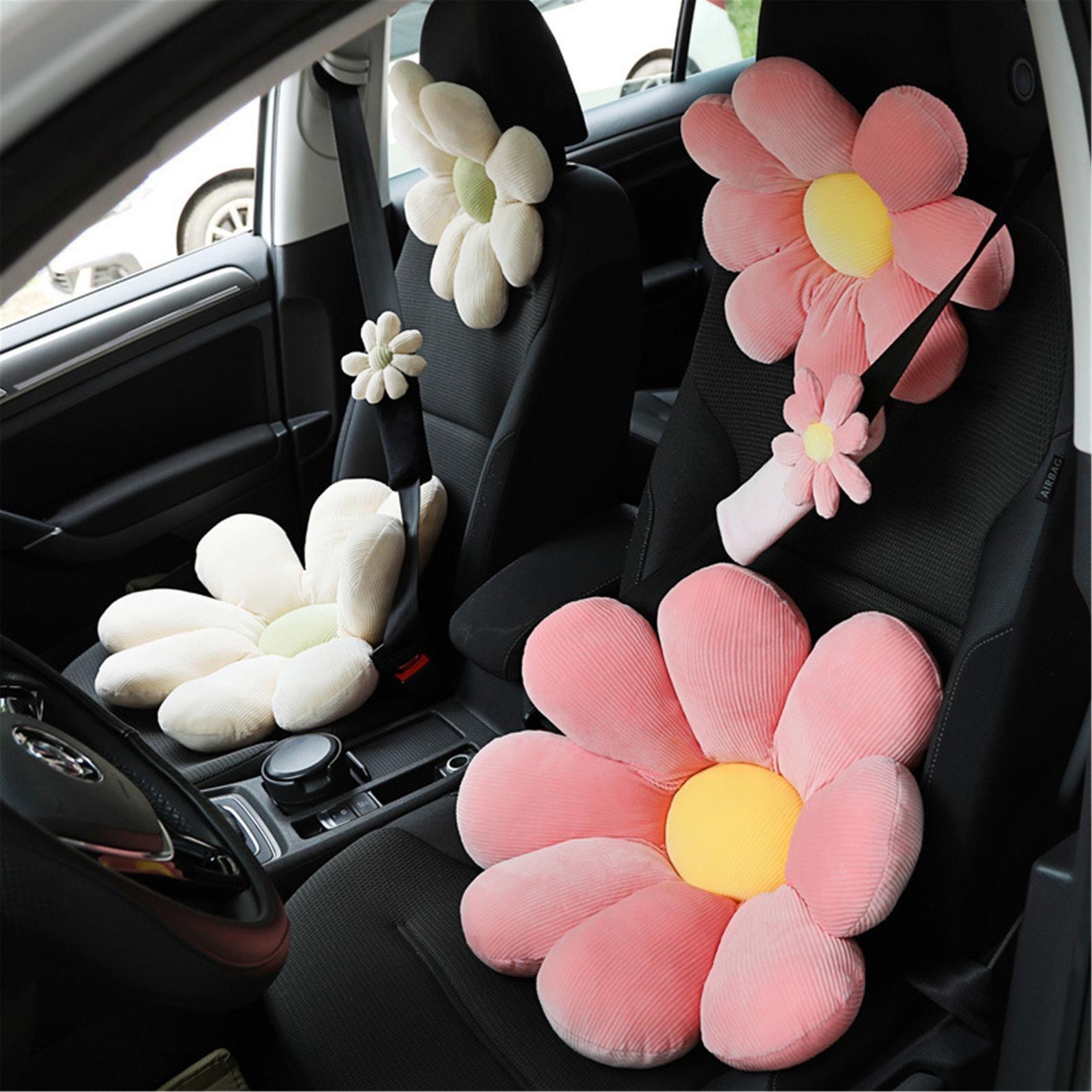 the pink flower plush headrest
