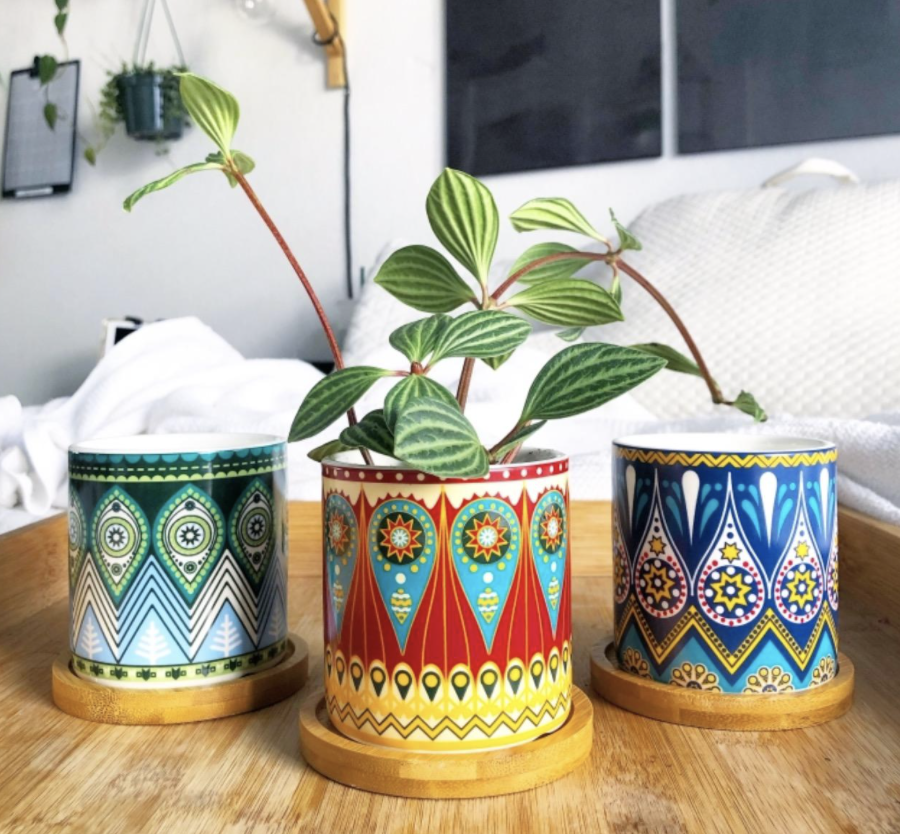 Reviewer's closeup of the three planters showing off the intricate patterns of each one