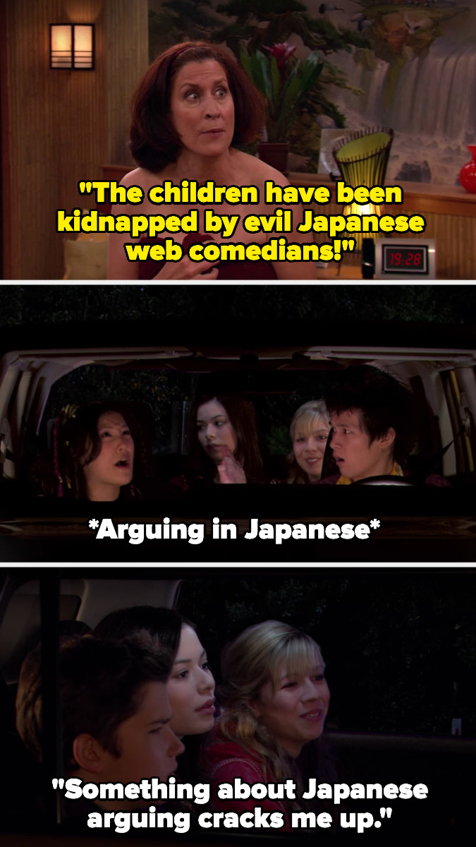 Freddie's mom says the kids have been kidnapped by evil Japanese web comedians, and later Sam says she finds Japenese people arguing funny