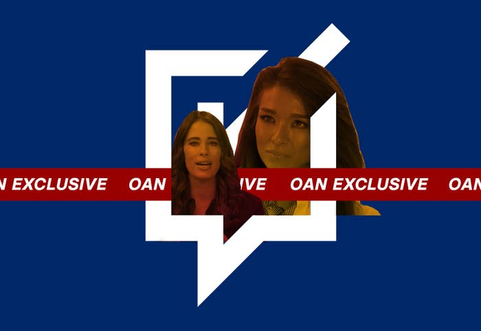 A collage of Christina Bobb's and Chanel Rion's faces appear over the logo for Voices and Votes