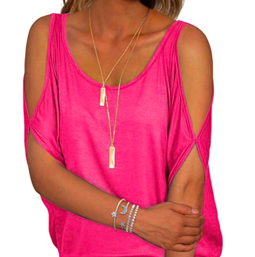 shirt with shoulder cut-outs
