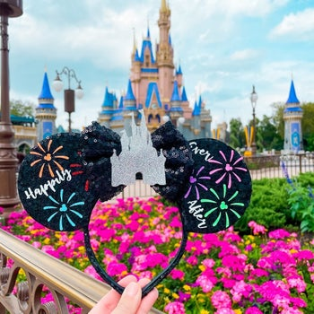 the ears with fireworks and the castle on them