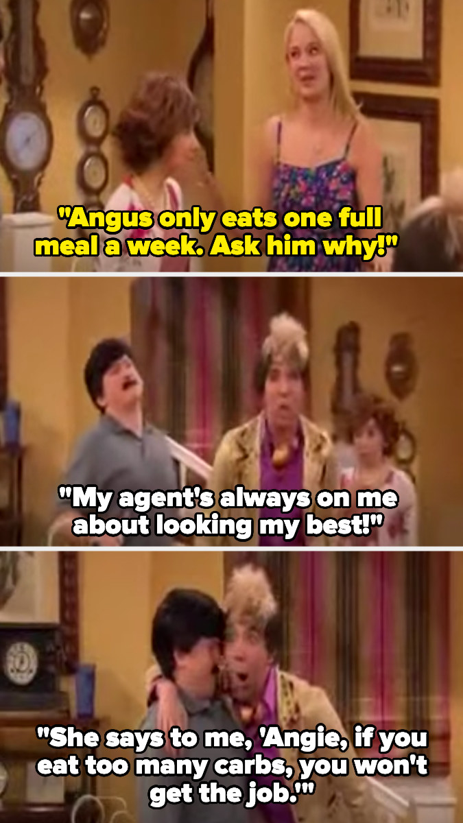 In the sketch, Angus is introduced as someone who only eats one full meal a week because his agent wants him to look his best, telling him that he won't get jobs if he eats carbs
