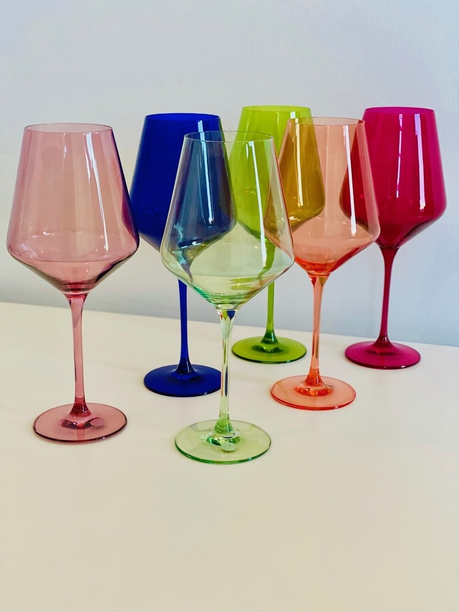stemware in a variety of colors