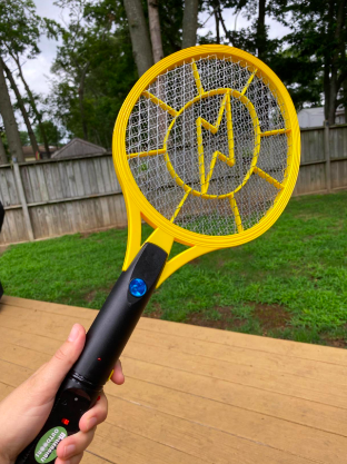Reviewer holding the tennis-like swatter in a back yard