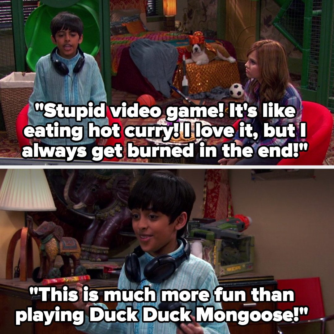"""Ravi says, """"Stupid video game! It's like eating hot curry! I love it, but I always get burned in the end!"""" and also, """"This is much more fun than playing Duck Duck Mongoose"""""""