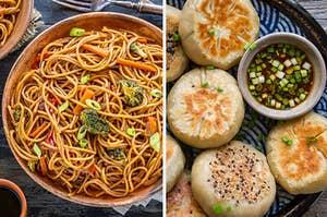 lo mein and dumplings