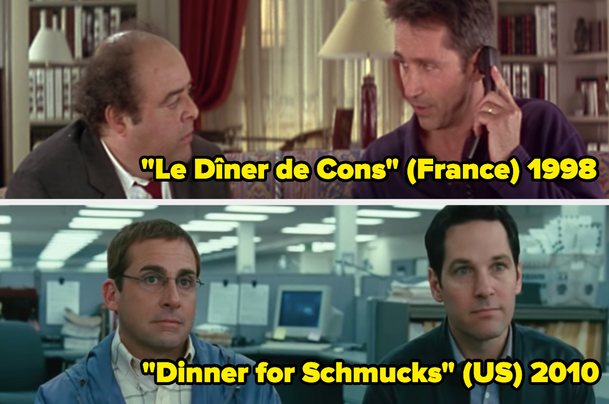 Jacques Villeret and Thierry Lhermitte sitting on a couch; Steve Carell and Paul Rudd sitting at a desk in a cubicle