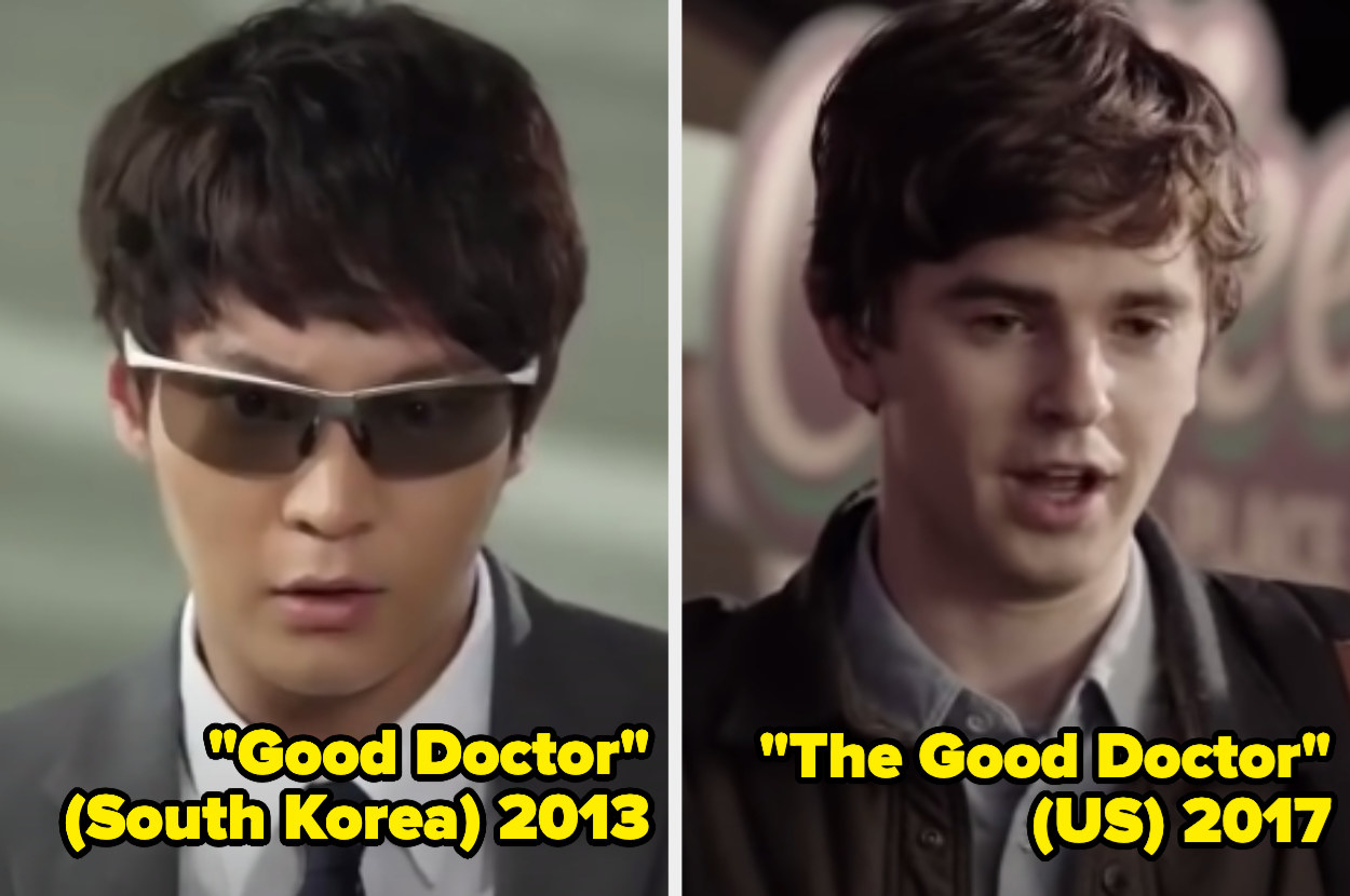 Joo Won wearing sunglasses looking in front of him, Freddie Highmore looking in front of him