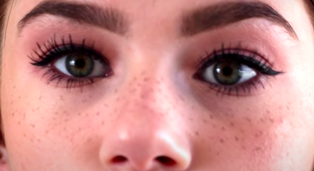 freckles created with henna or brown makeup