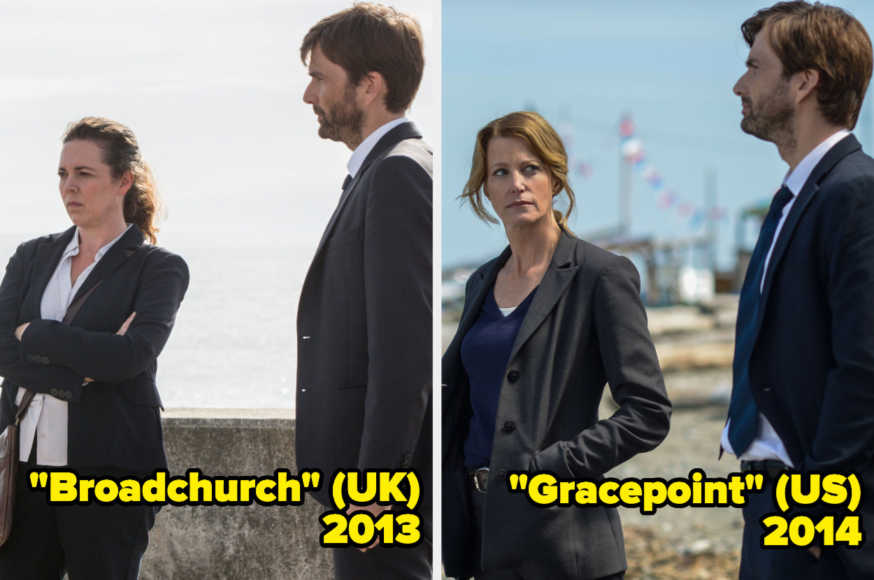 Olivia Colman with her arms crossed standing beside David Tennant, Anna Gunn with her hands in her pockets, standing beside David Tennant