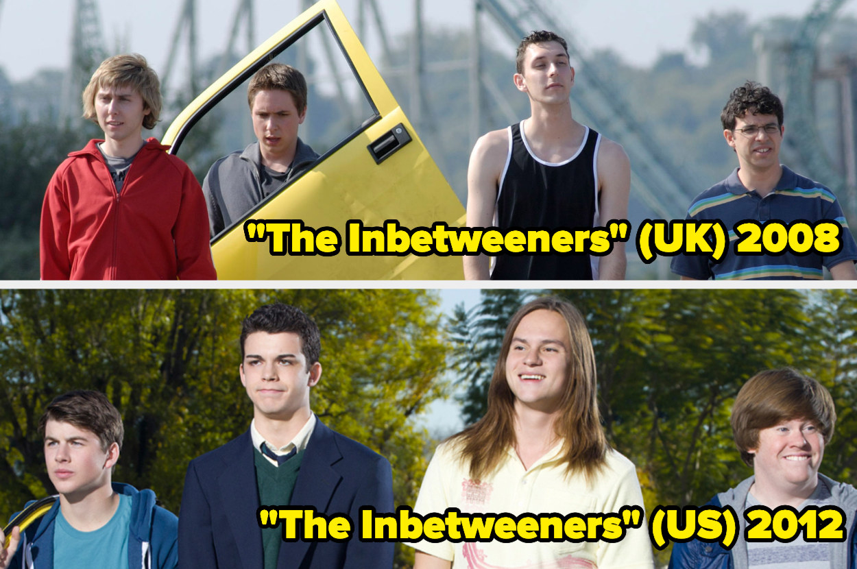 The British cast of The Inbetweeners holding a car door, The American cast of The Inbetweeners walking down a street