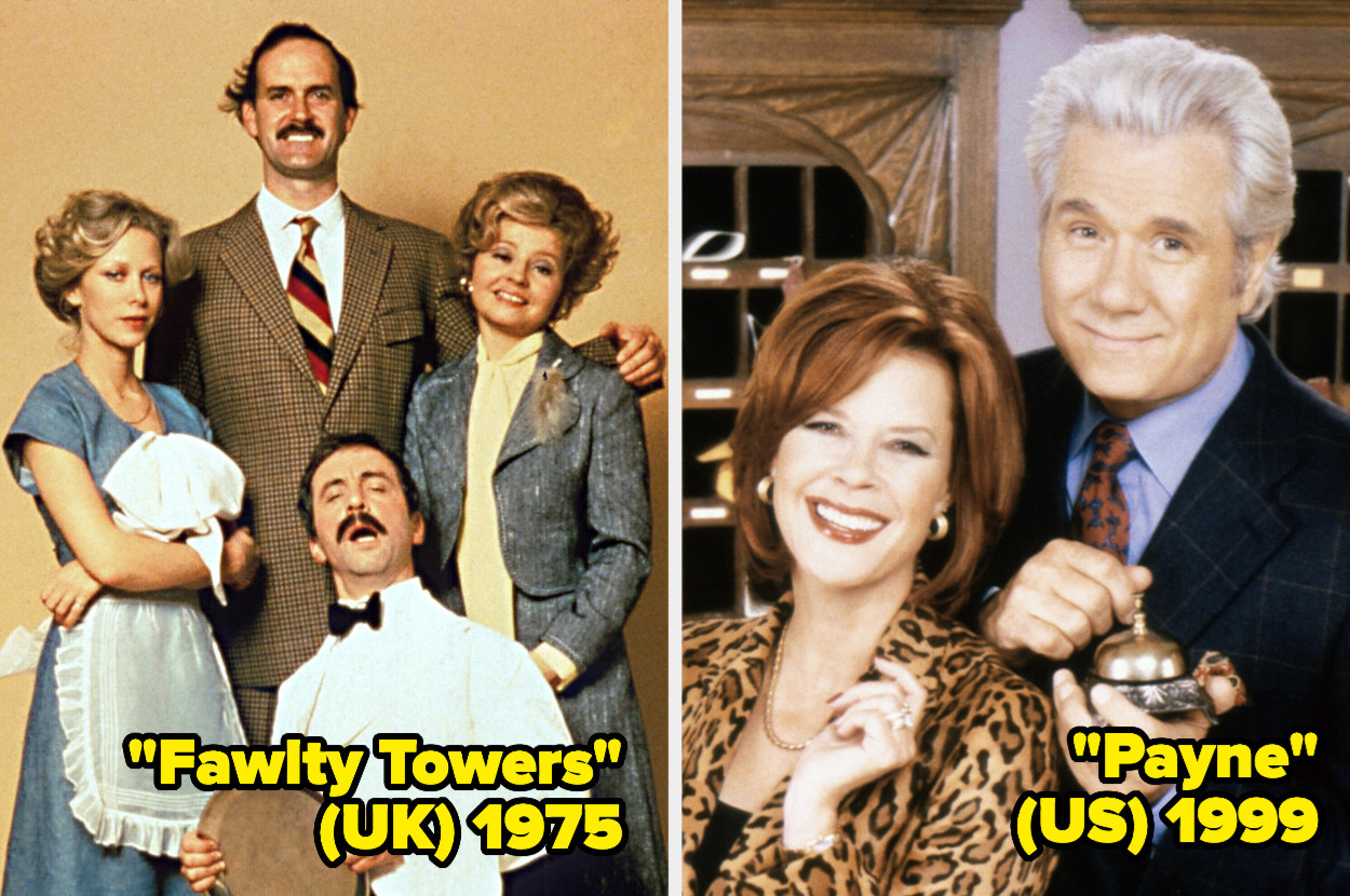 The cast of Fawlty Towers posing for a group photo, The cast of Payne posing for a photo while holding a bell