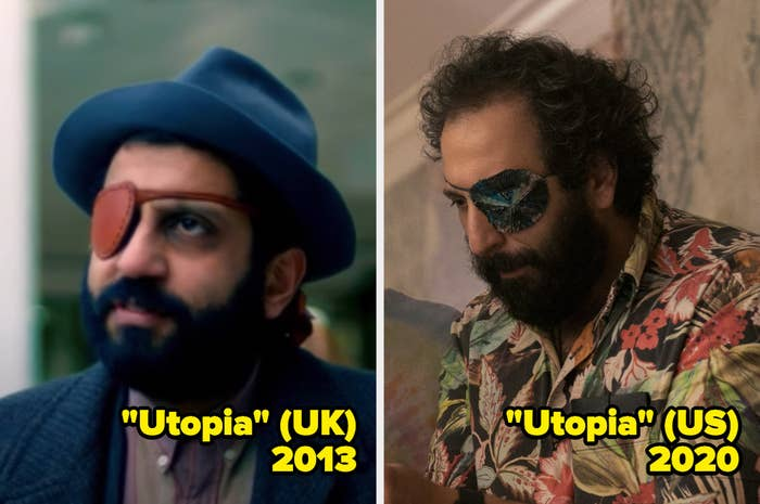 Adeel Akhtar and Desmin Borges wearing an eye patch