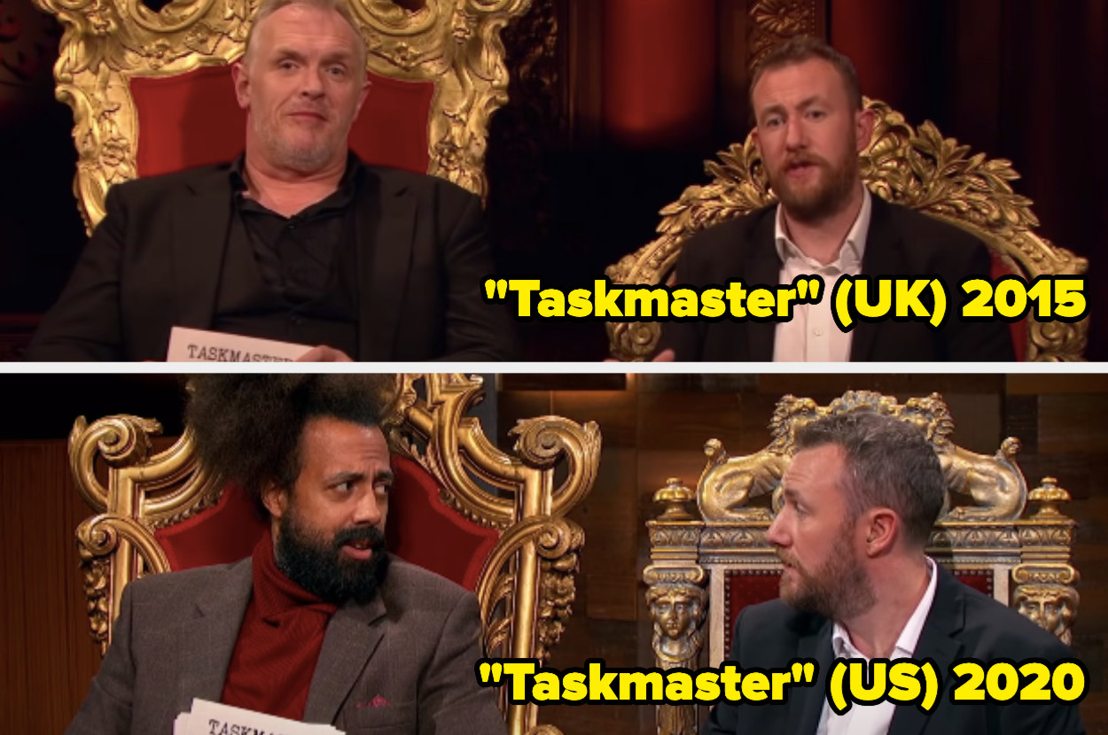 Greg Daives and Alex Horne sitting on thrones, Reggie Wats and Alex Horne sitting on thrones