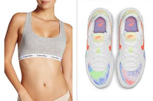 在左模型穿着Calvin Klein Bralette和右耐克运动鞋