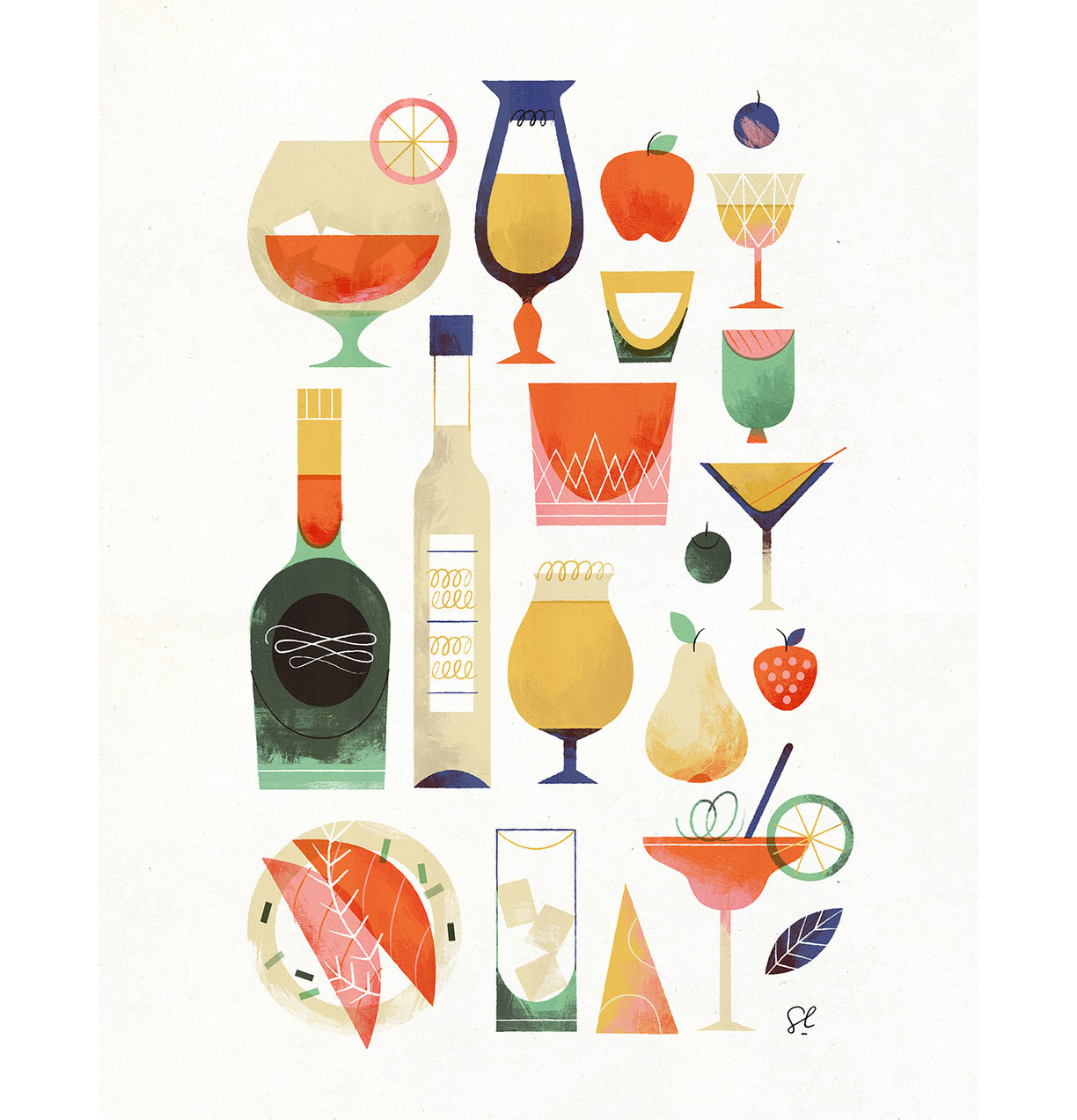 The poster featuring an illustration of a variety of cocktails, bottles, and fruits