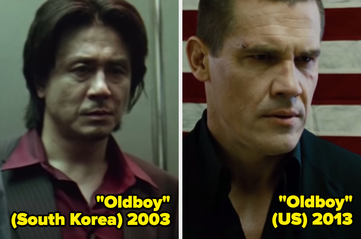 Choi Min-Sik standing in an elevator, Josh Brolin standing in front of an American flag