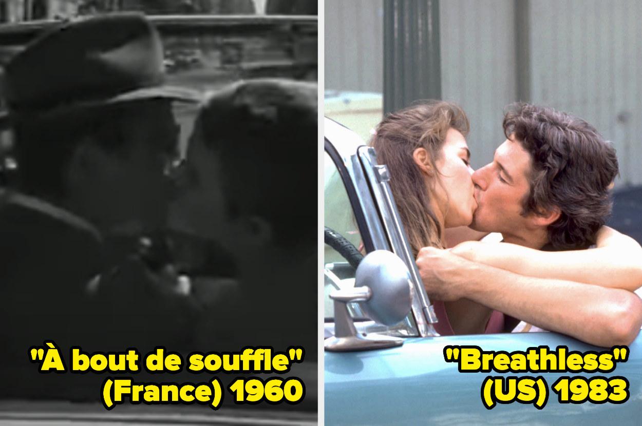Jean-Paul Belmondo and Jean Seberg kissing in the car, Valérie Kaprisky and Richard Gere kissing in the car