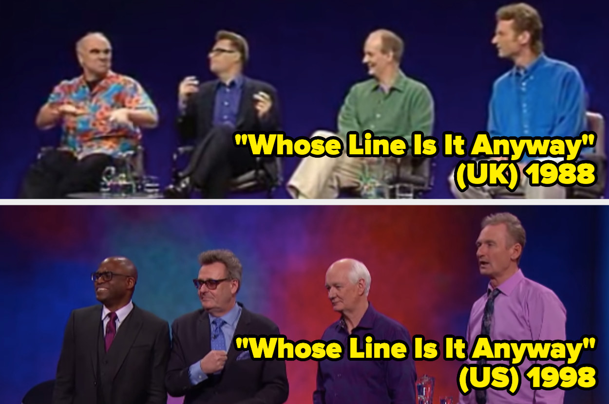 The cast of Whose Line Is It Anyway sitting down in a line, the cast of Whose Line Is It Anyway standing in a line