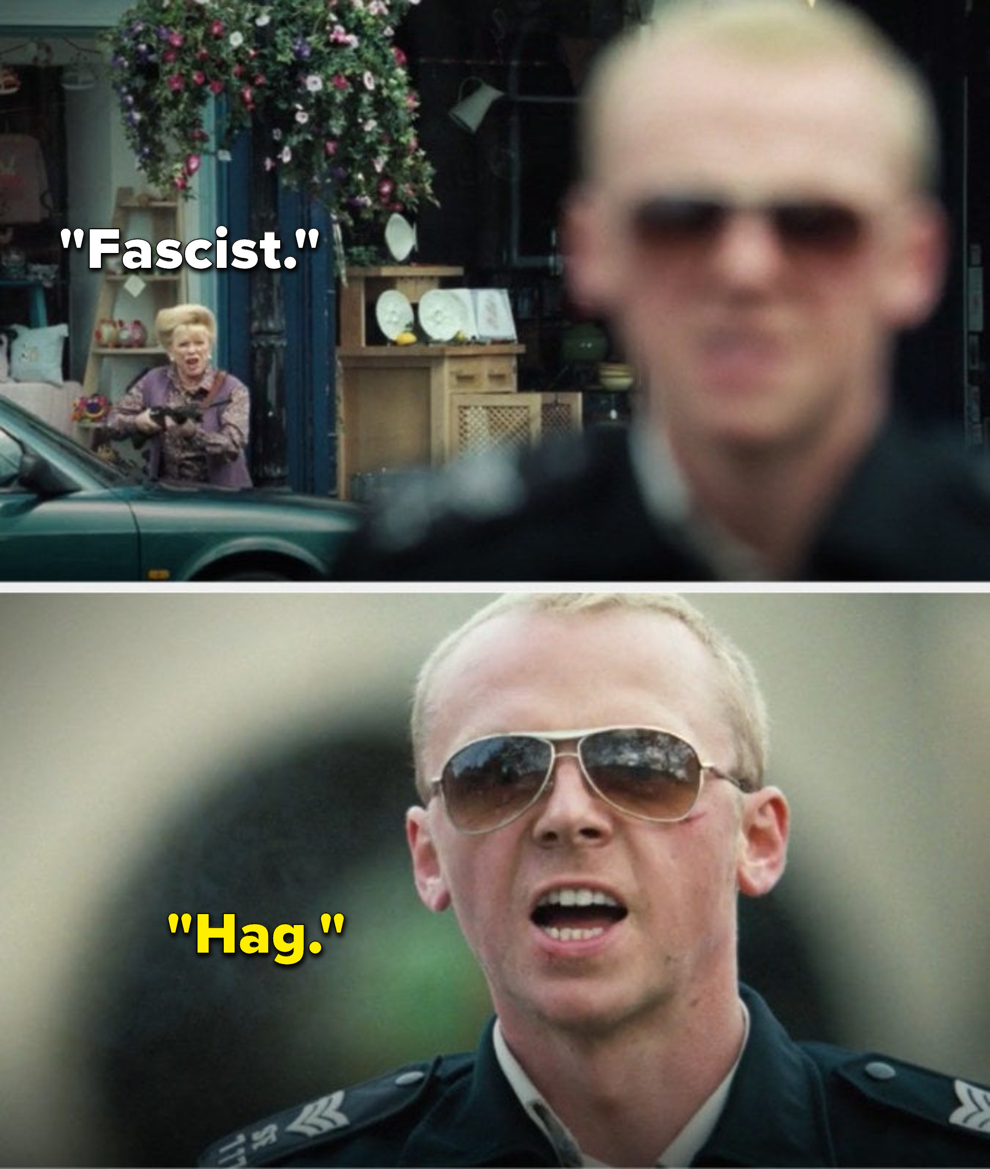 """While pointing a gun at Angel, Cooper says, """"Fascist,"""" and after Angels kills her he says, """"Hag"""""""