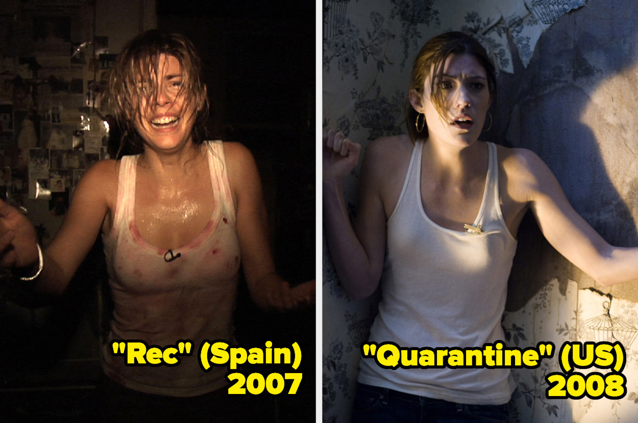 Manuela Velasco wearing a bloodied tank top in the dark, Jennifer Carpenter wearing a white tank top standing in the corner of a room