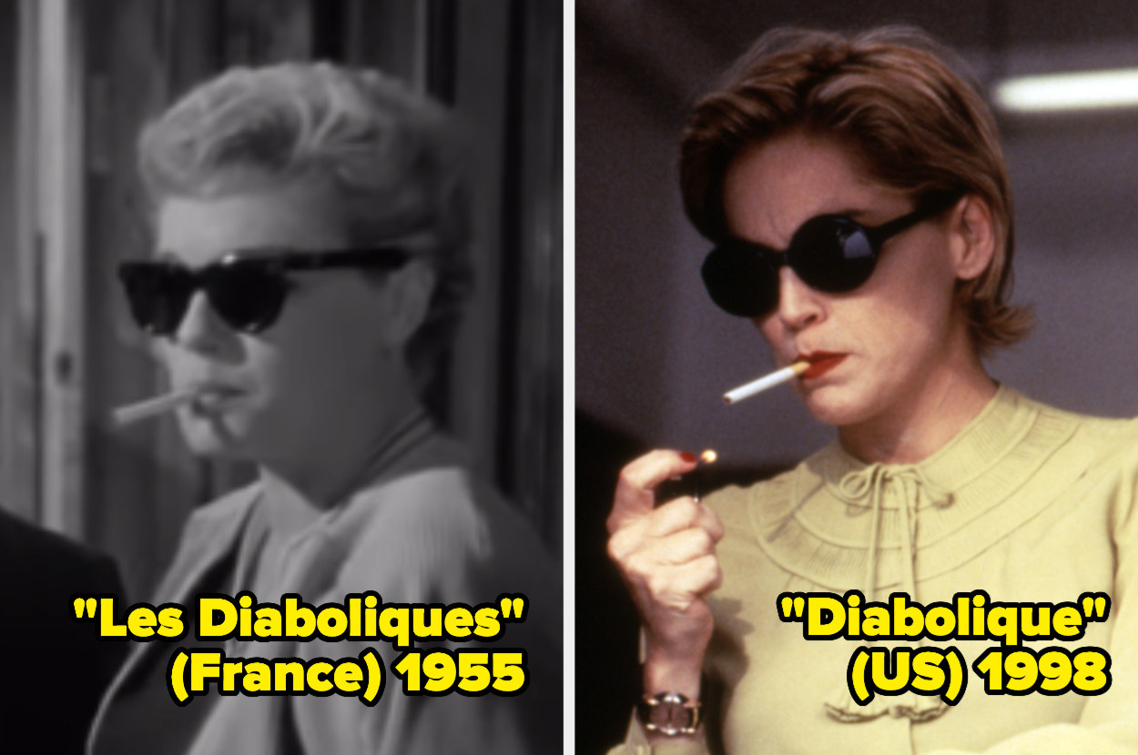 Simone Signoret and Sharon Stone wearing sunglasses and smoking a cigarette