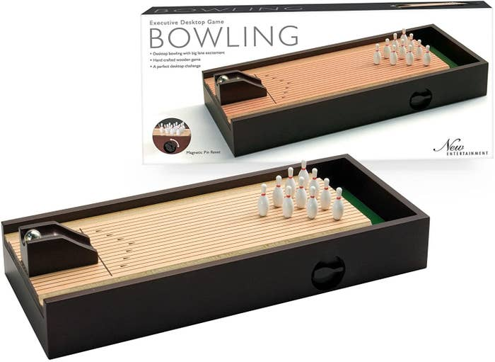 Small bowling lane beside packaging