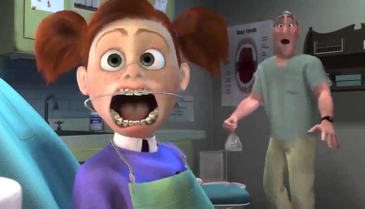 "The orthodontist scene from ""Finding Nemo"""