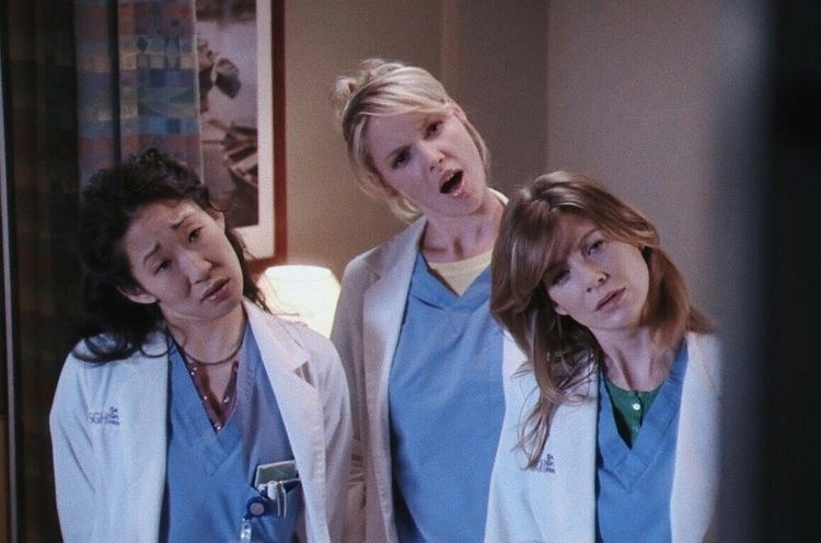 "Doctors in ""Grey's Anatomy"" looking shocked"