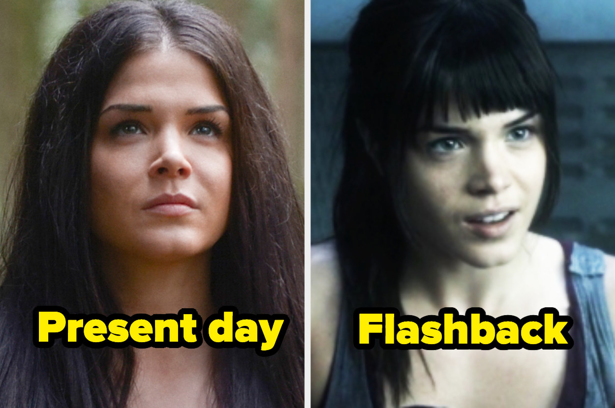 Present-day Octavia with a middle part and straight hair next to flashback Octavia with a high ponytail and thick bangs.